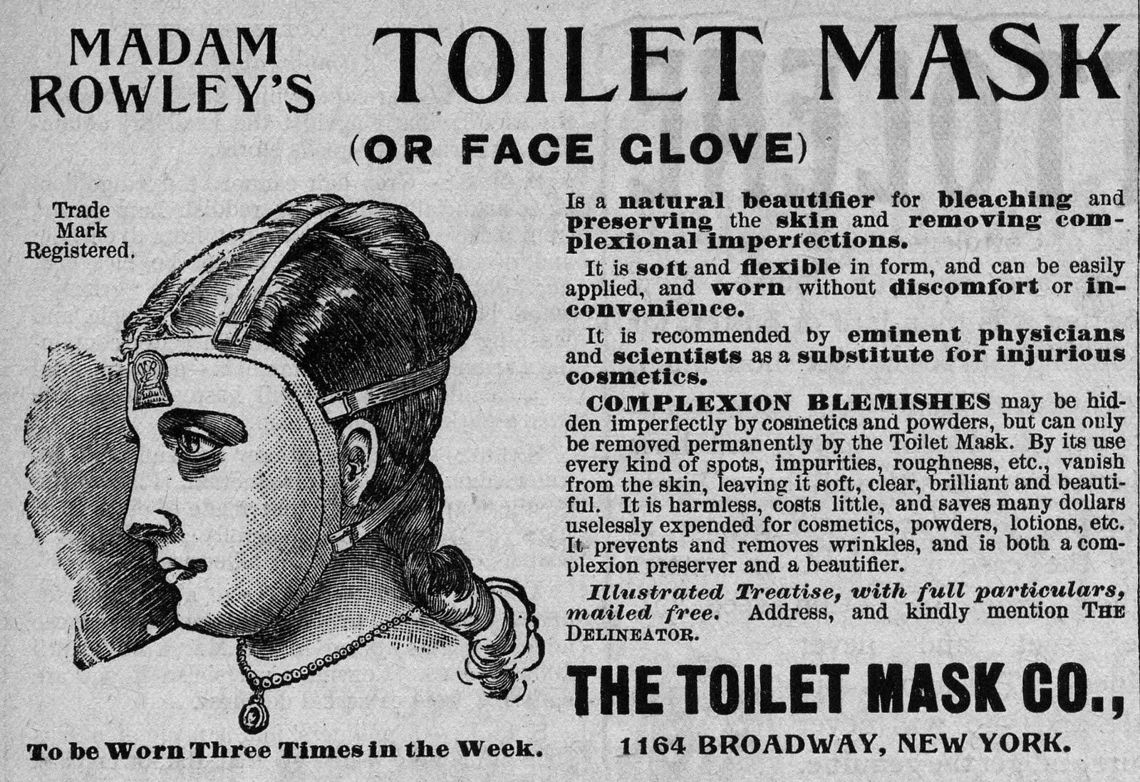 Advertisement for Madame Rowley's Toilet Mask